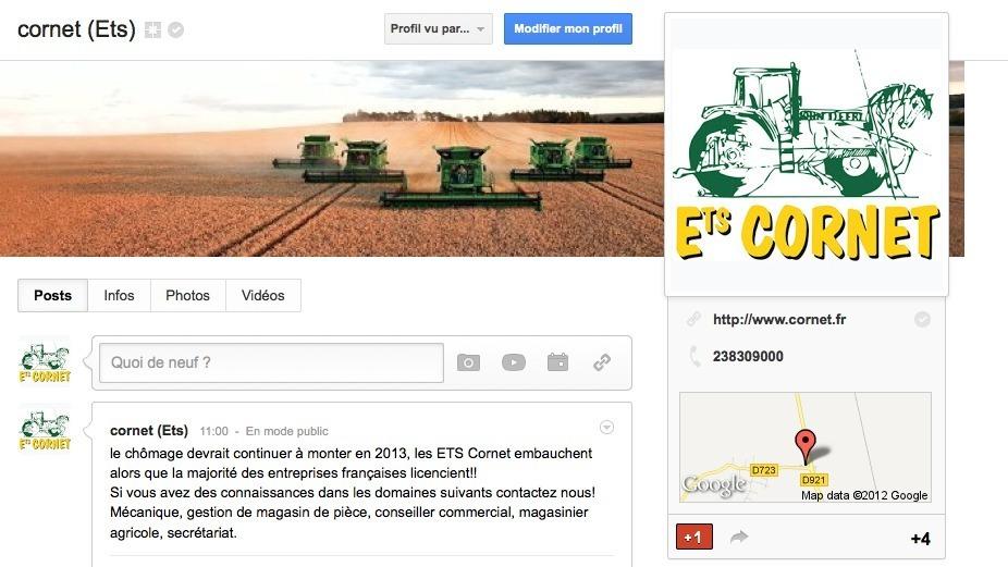 Ets Cornet sur google +
